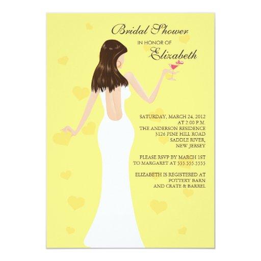 Chic Cocktail Bride Bridal Shower Invitation Yello