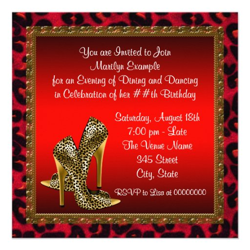 Chic Cocktail High Heel Shoes Red Leopard Birthday Custom Invites (back side)