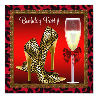 Chic Cocktail High Heel Shoes Red Leopard Birthday Invitation