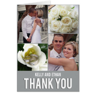 Chic Collage Wedding Thank You Card Card