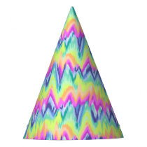 Chic Colorful Abstract Neon Chevron Pattern Party Hat