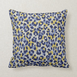 Chic colorful blue yellow cheetah print monogram throw pillow