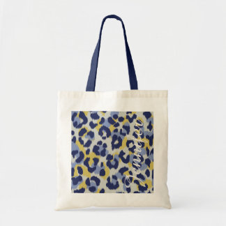 Chic colorful blue yellow cheetah print monogram tote bag