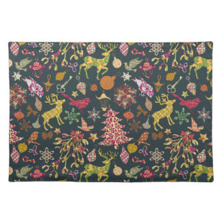 Chic Colorful Festive Patchwork Floral Damask Placemat
