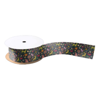 Chic Colorful Festive Patchwork Floral Damask Satin Ribbon