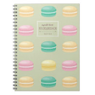 Chic Colorful French Macaron Pattern Green Notebooks