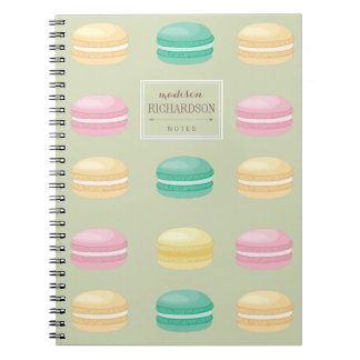 Chic Colorful French Macaron Pattern Green Spiral Notebook