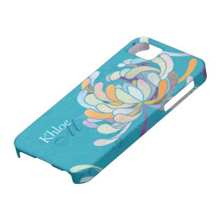 Chic Colorful Mum Floral Monogram iPhone 5 Cases