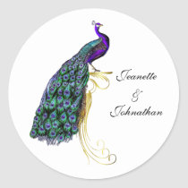 Chic Colorful Peacock Wedding Envelope Seal