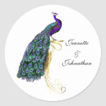 Chic Colorful Peacock Wedding Envelope Seal Classic Round Sticker