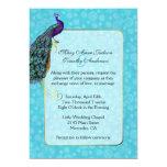 Chic Colorful Peacock Wedding Invitation