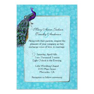 Chic Colorful Peacock Wedding Invitation 5