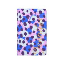Chic colorful pink blue cheetah print monogram journal