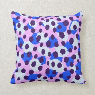 Chic colorful pink blue cheetah print throw pillow