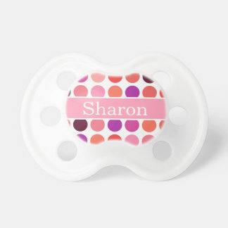 Chic colorful polka dots pattern monogram pacifier
