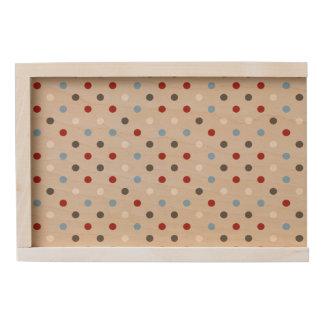 Chic Colorful Polka Dots Pattern Wooden Keepsake Box