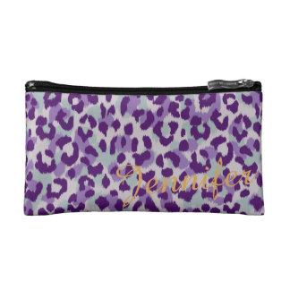 Chic colorful purple cheetah print monogram makeup bags