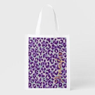 Chic colorful purple cheetah print monogram grocery bags
