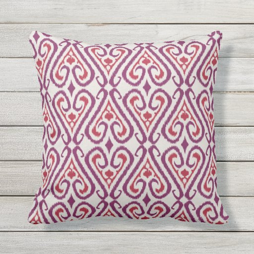 Chic colorful red and purple ikat damask patterns outdoor pillow Zazzle