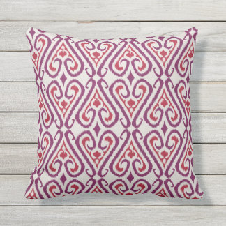 Chic colorful red and purple ikat damask patterns throw pillow