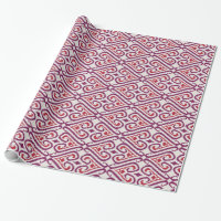 Chic colorful red and purple ikat damask patterns wrapping paper