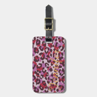Chic colorful red lilac cheetah print monogram luggage tag