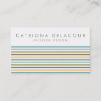 Chic Colorful Retro Stripes Pattern Business Card