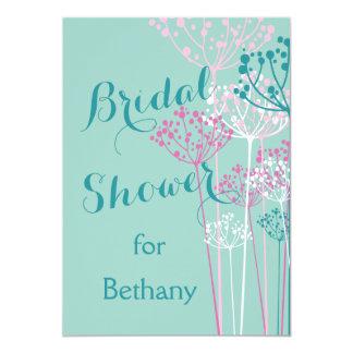 "Chic Contemporary Dandelions Bridal Shower 5"" X 7"" Invitation Card"