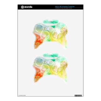Chic Cool Teal Blue Red Yellow Abstract Watercolor Xbox 360 Controller Decal