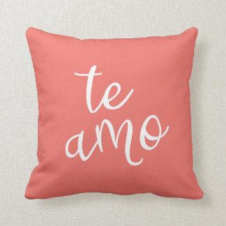 Chic Coral and White Spanish I Love You Te Amo Throw Pillow