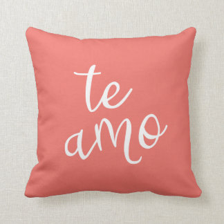 Modern Chic Coral and White Spanish I Love You Te Amo Throw Pillow