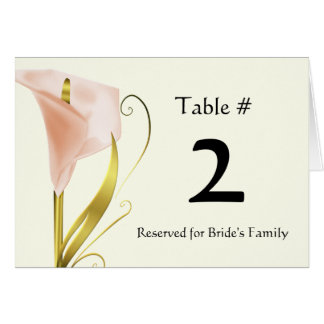 Chic Coral Calla Lily Table Number