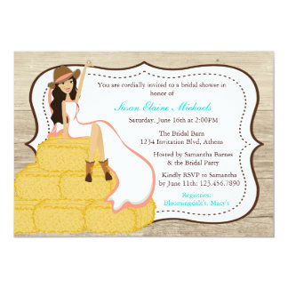 Chic Coral Cowgirl Country Bride Bridal Shower Card
