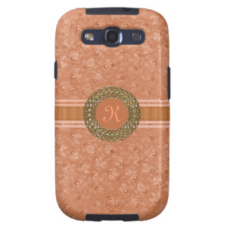 Chic Coral Ostrich Leather Look Monogram Galaxy S3 Case