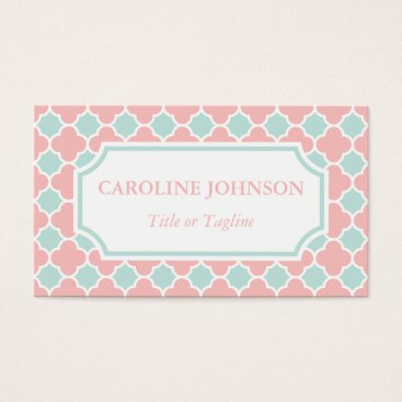 Professional Business Chic Coral Pink Mint Green White Quatrefoil Business Card