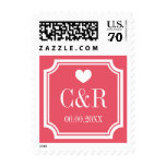 Chic coral pink monogram 70 cent wedding stamps