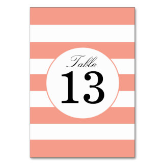 Chic Coral Stripes Table Number Card Table Cards