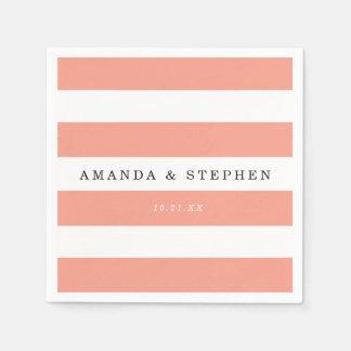 Chic Coral Stripes Wedding Napkin