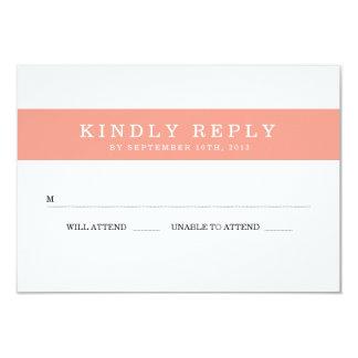 Chic Coral Stripes Wedding RSVP 3.5x5 Paper Invitation Card