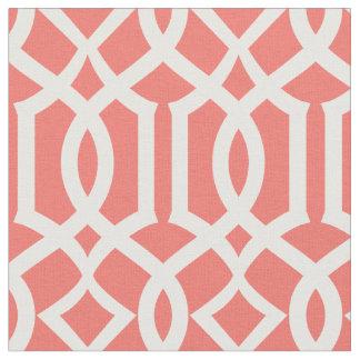 Chic Coral Trellis Lattice Pattern Fabric