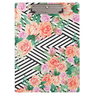 Chic coral watercolor roses black white striped clipboard