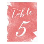 CHIC CORAL WATERCOLOR TABLE NUMBER CARDS POSTCARDS