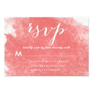 Watercolor Coral Wedding Invitations RSVP Cards by AntiqueChandelier for MonogramGallery.ca