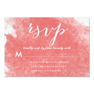 """CHIC CORAL WATERCOLOR WEDDING RSVP CARDS 3.5"""" X 5"""" INVITATION CARD"""