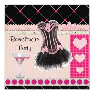 """Chic Corset & Pink Martini Bachelorette Party 5.25"""" Square Invitation Card"""