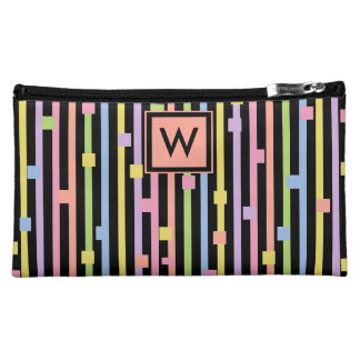 CHIC COSMETIC BA_GIRLY PASTEL STRIPES/CONFETTI MAKEUP BAG