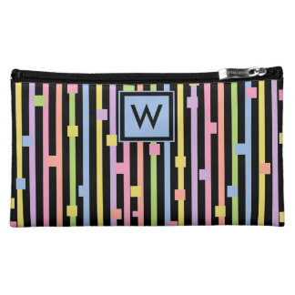 CHIC COSMETIC BAG_GIRLS PASTEL STRIPES/CONFETTI MAKEUP BAG