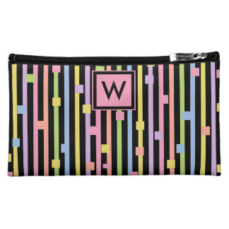 CHIC COSMETIC BAG _GIRLY PASTEL STRIPES/CONFETTI
