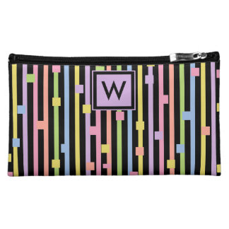 CHIC COSMETIC BAG_GIRLY PASTEL STRIPES/CONFETTI MAKEUP BAG