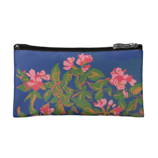 Chic Cosmetics Bag, Pink Japonica on Blue Cosmetic Bag